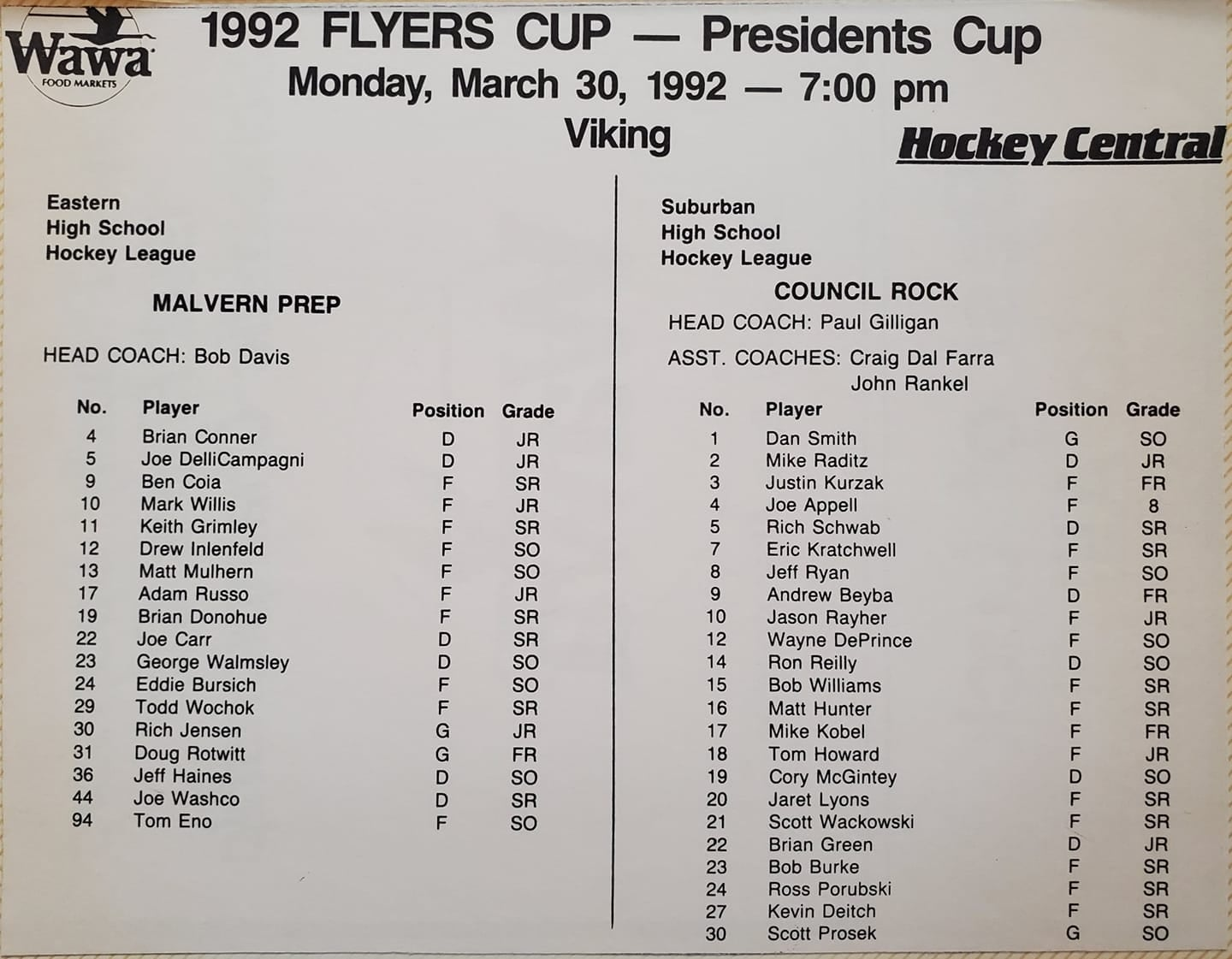 1992 Flyers Cup AA Tournament History Roster Card