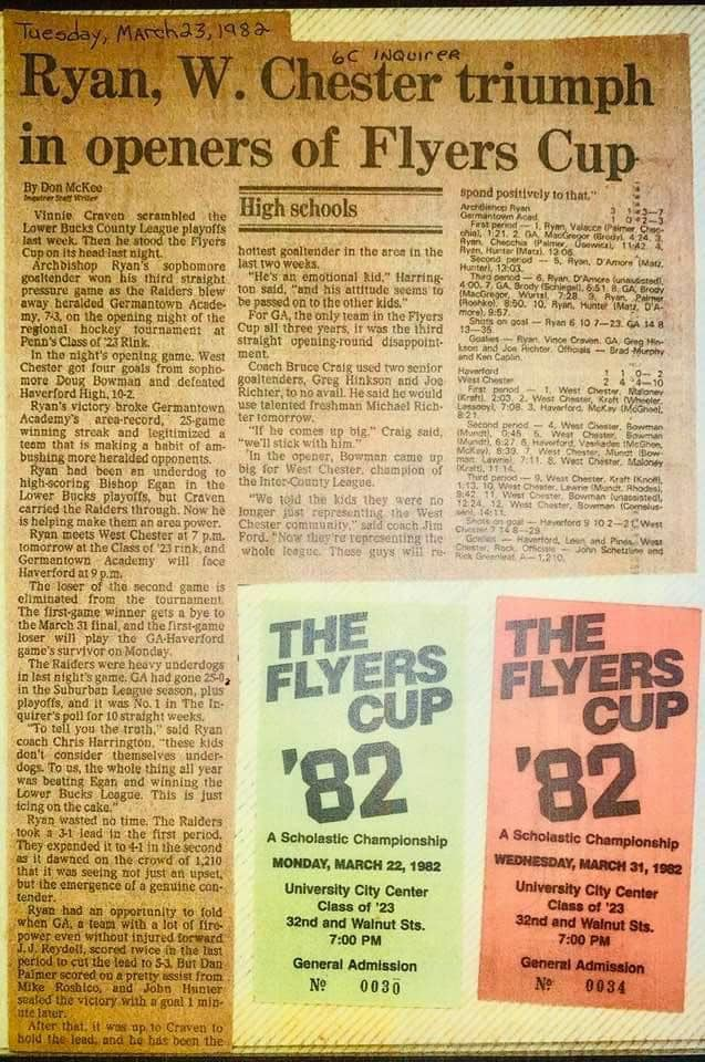 1982 Flyers Cup Archbishop Ryan Raiders Ice Hockey History